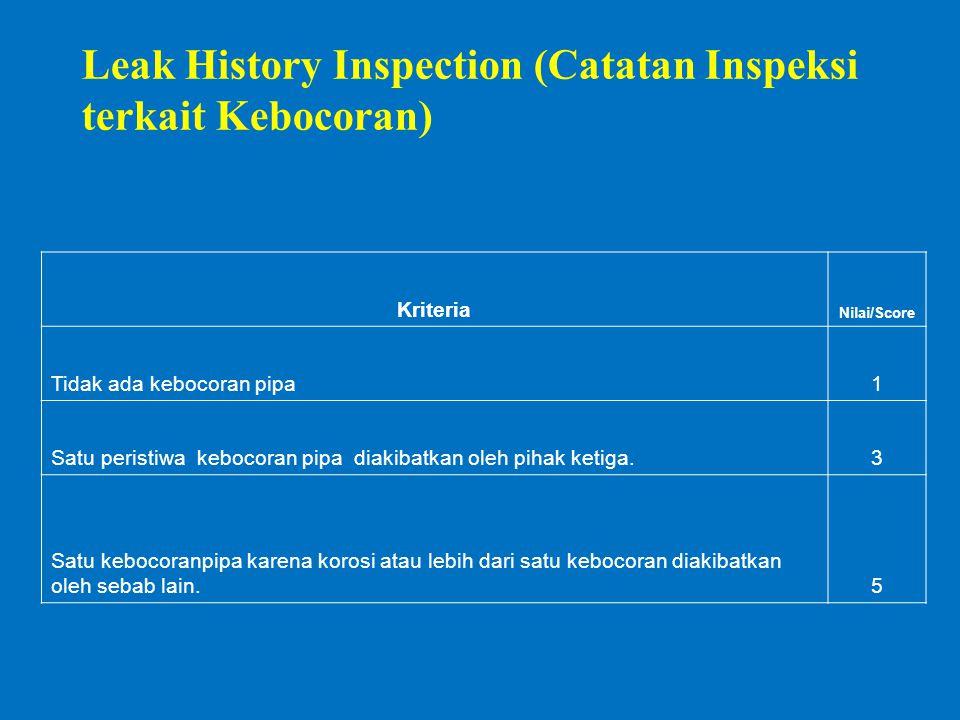 Leak History Inspection (Catatan Inspeksi terkait Kebocoran) Kriteria Nilai/Score Tidak ada kebocoran pipa1 Satu peristiwa kebocoran pipa diakibatkan oleh pihak ketiga.3 Satu kebocoranpipa karena korosi atau lebih dari satu kebocoran diakibatkan oleh sebab lain.5