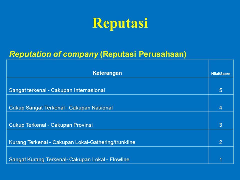 Reputasi Reputation of company (Reputasi Perusahaan) Keterangan Nilai/Score Sangat terkenal - Cakupan Internasional5 Cukup Sangat Terkenal - Cakupan Nasional4 Cukup Terkenal - Cakupan Provinsi3 Kurang Terkenal - Cakupan Lokal-Gathering/trunkline2 Sangat Kurang Terkenal- Cakupan Lokal - Flowline1