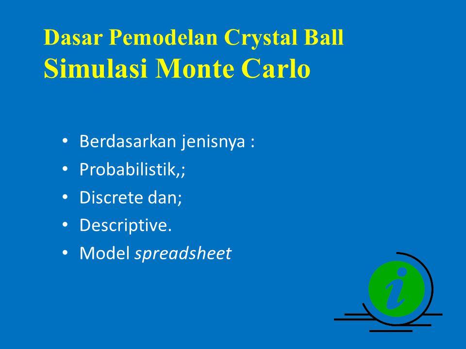 Dasar Pemodelan Crystal Ball Simulasi Monte Carlo Berdasarkan jenisnya : Probabilistik,; Discrete dan; Descriptive.