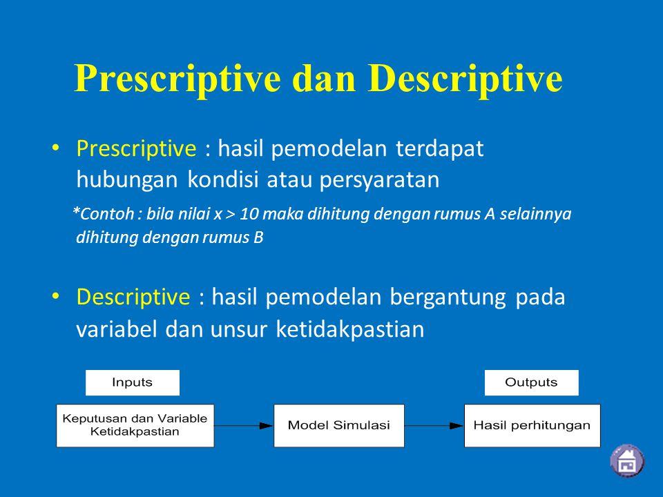 Prescriptive dan Descriptive Prescriptive : hasil pemodelan terdapat hubungan kondisi atau persyaratan *Contoh : bila nilai x > 10 maka dihitung dengan rumus A selainnya dihitung dengan rumus B Descriptive : hasil pemodelan bergantung pada variabel dan unsur ketidakpastian