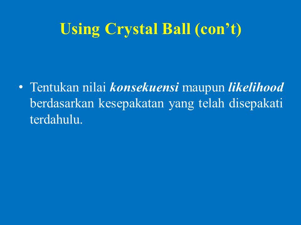 Using Crystal Ball (con't) Tentukan nilai konsekuensi maupun likelihood berdasarkan kesepakatan yang telah disepakati terdahulu.