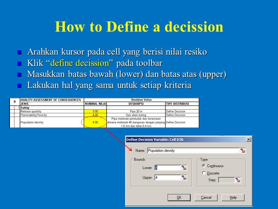 How to Define a decission Arahkan kursor pada cell yang berisi nilai resiko Arahkan kursor pada cell yang berisi nilai resiko Klik define decission pada toolbar Klik define decission pada toolbar Masukkan batas bawah (lower) dan batas atas (upper) Masukkan batas bawah (lower) dan batas atas (upper) Lakukan hal yang sama untuk setiap kriteria Lakukan hal yang sama untuk setiap kriteria