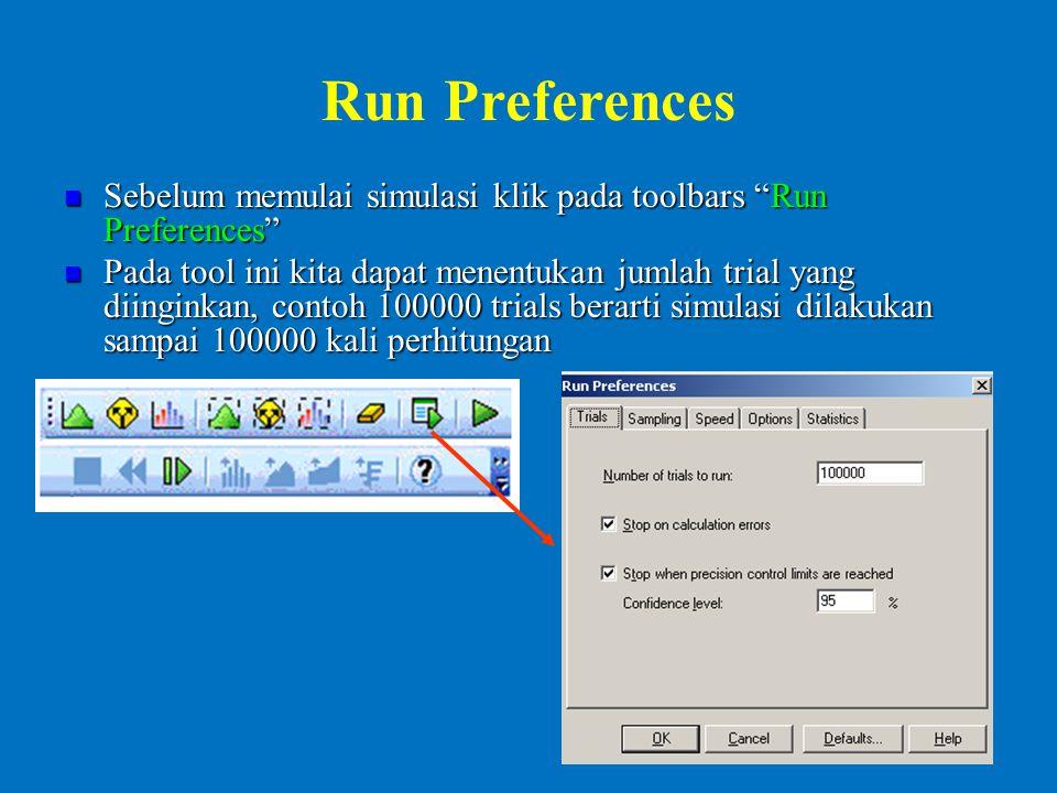 Run Preferences Sebelum memulai simulasi klik pada toolbars Run Preferences Sebelum memulai simulasi klik pada toolbars Run Preferences Pada tool ini kita dapat menentukan jumlah trial yang diinginkan, contoh 100000 trials berarti simulasi dilakukan sampai 100000 kali perhitungan Pada tool ini kita dapat menentukan jumlah trial yang diinginkan, contoh 100000 trials berarti simulasi dilakukan sampai 100000 kali perhitungan