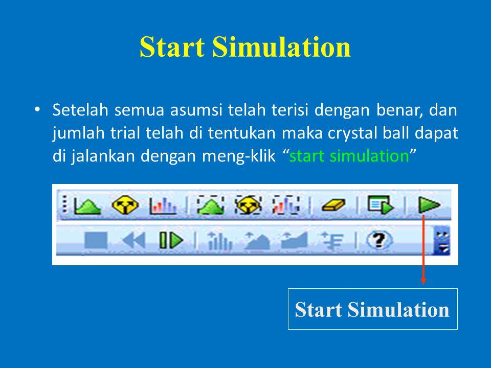 Start Simulation Setelah semua asumsi telah terisi dengan benar, dan jumlah trial telah di tentukan maka crystal ball dapat di jalankan dengan meng-klik start simulation Start Simulation