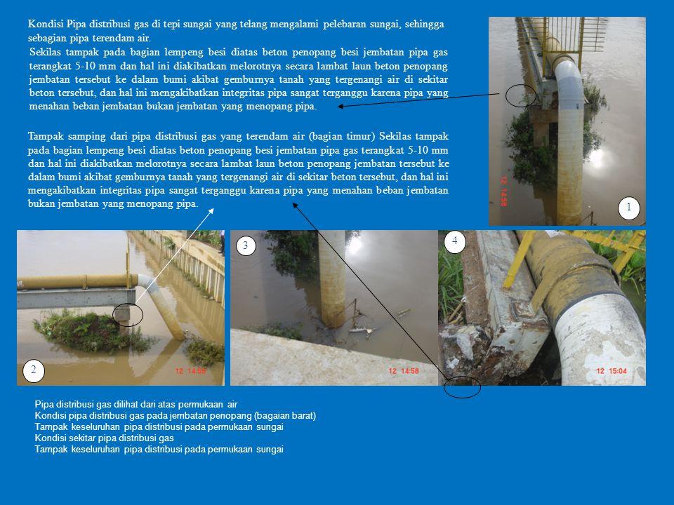 1 Kondisi Pipa distribusi gas di tepi sungai yang telang mengalami pelebaran sungai, sehingga sebagian pipa terendam air.
