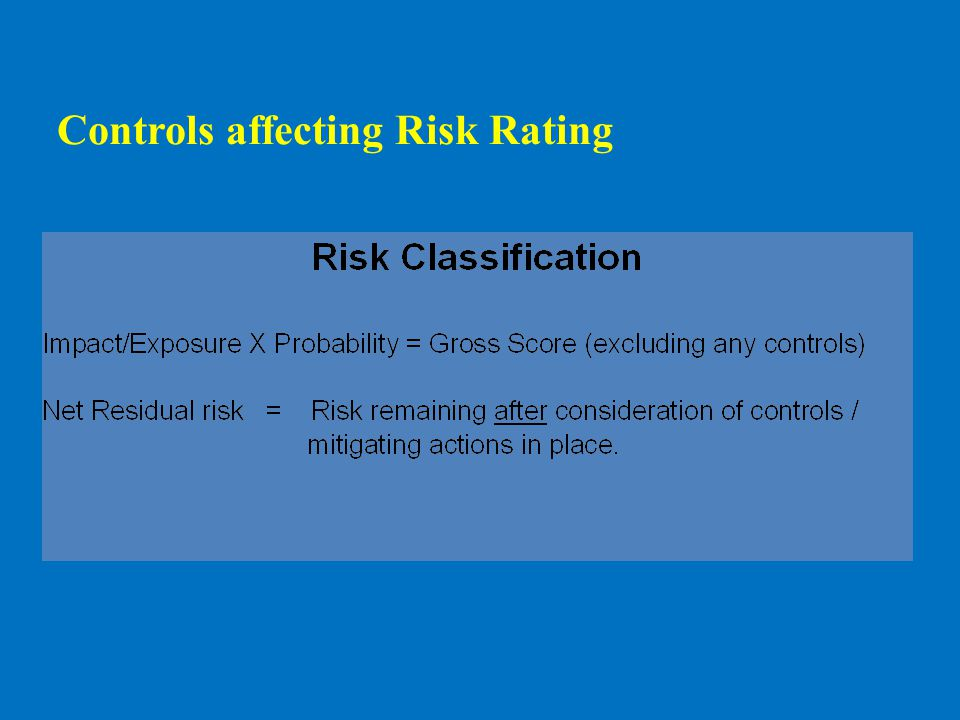 Effective risk management reduces risk assessment from Medium to Low Example of Risk Rating