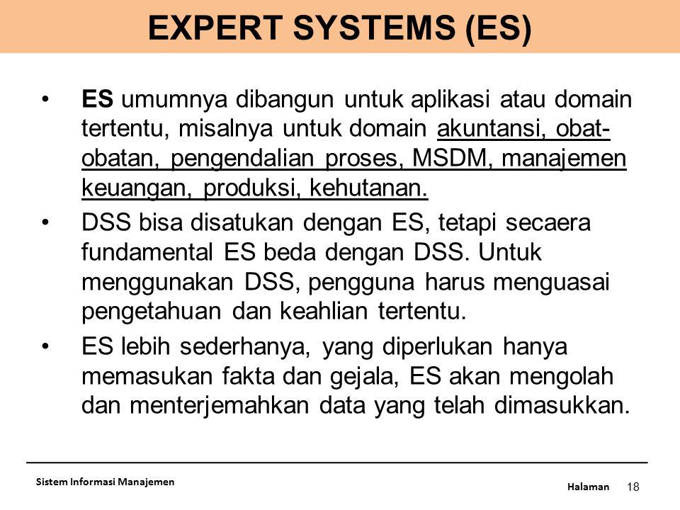 Halaman 18 Sistem Informasi Manajemen ES umumnya dibangun untuk aplikasi atau domain tertentu, misalnya untuk domain akuntansi, obat- obatan, pengenda