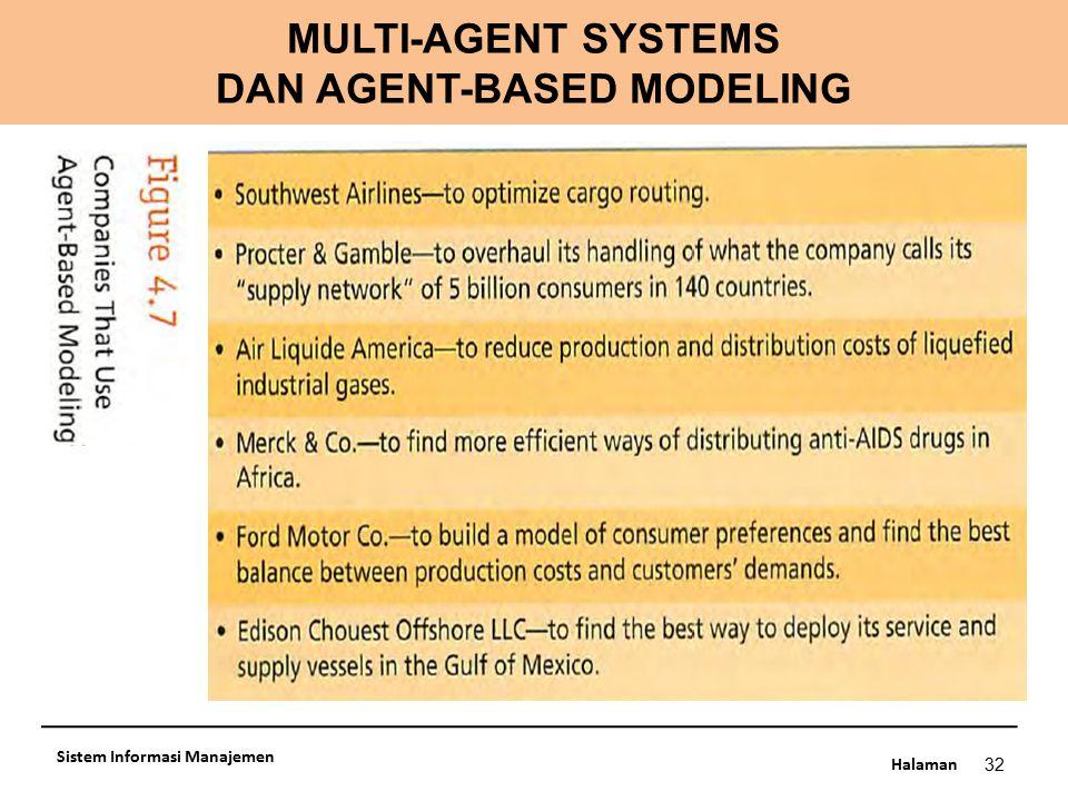 Halaman MULTI-AGENT SYSTEMS DAN AGENT-BASED MODELING 32 Sistem Informasi Manajemen