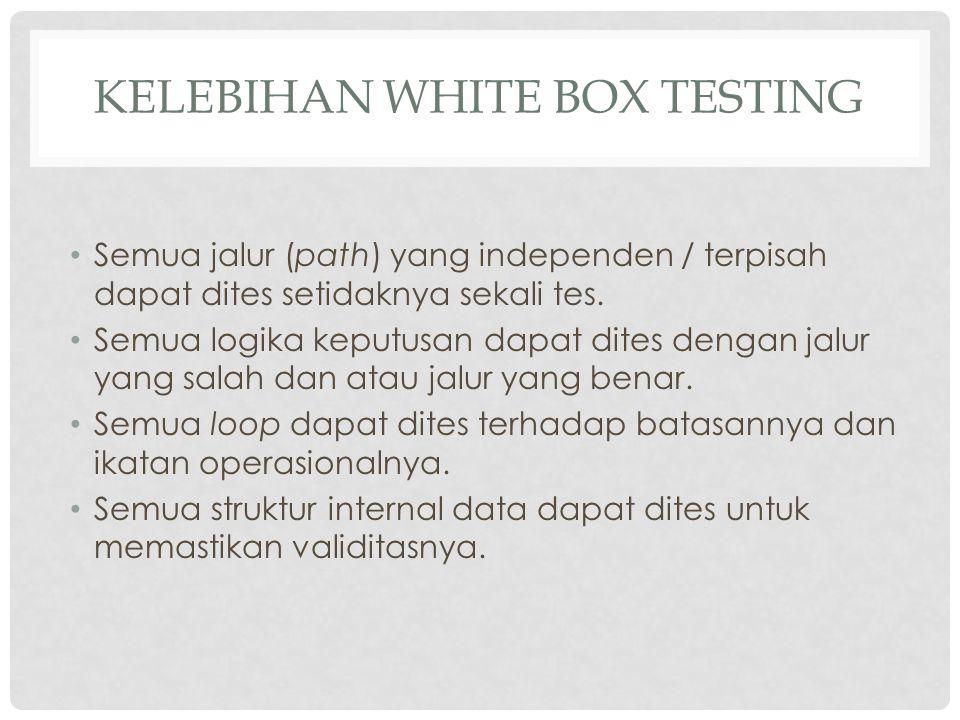 KELEBIHAN WHITE BOX TESTING Semua jalur (path) yang independen / terpisah dapat dites setidaknya sekali tes. Semua logika keputusan dapat dites dengan