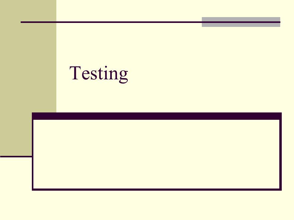 Tahap testing Testing adalah tahap yang sangat penting didalam proses pembuatan program Testing dilakukan ketika program sudah ditulis Testing atau aktiftas untuk menjamin kualitas program dapat dilakukan selama proses pembuatan program.