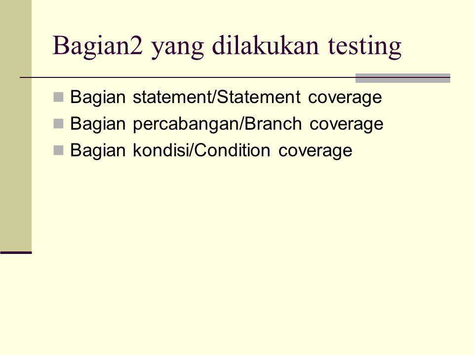 Bagian2 yang dilakukan testing Bagian statement/Statement coverage Bagian percabangan/Branch coverage Bagian kondisi/Condition coverage