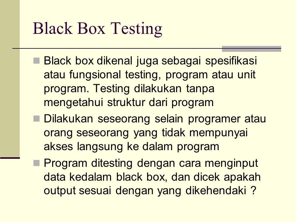 Black Box Testing Black box dikenal juga sebagai spesifikasi atau fungsional testing, program atau unit program. Testing dilakukan tanpa mengetahui st