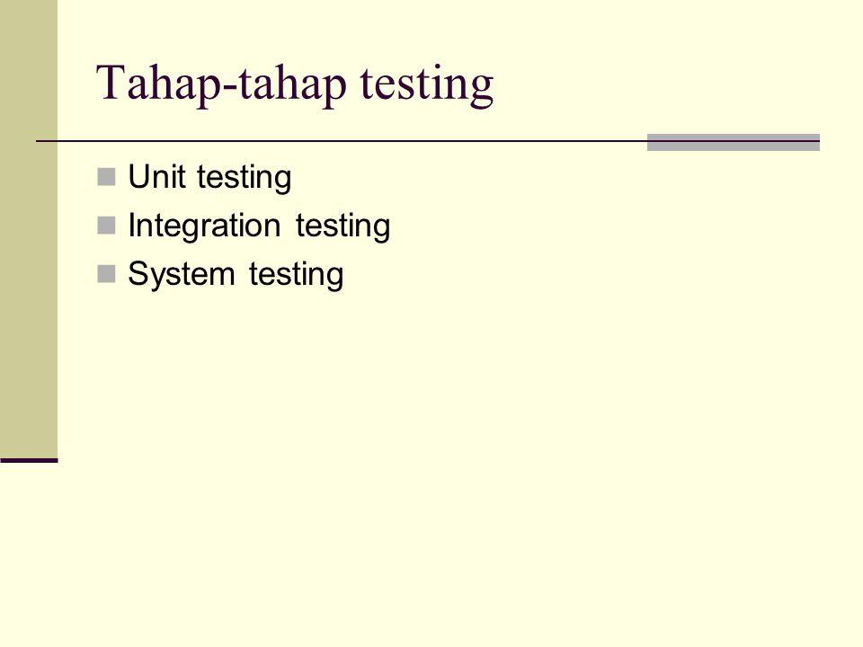 Unit testing Tidak ada standar untuk sesuatu yang dinamakan dengan unit: Unit testing mengecek kohesi tunggal antara prosedur atau fungsi dengan prosedur atau fungsi yang lain Bagian terkecil dari program ditesting dan di compile Sebuah fungsi yang dapat ditulis dalam suatu waktu tertentu