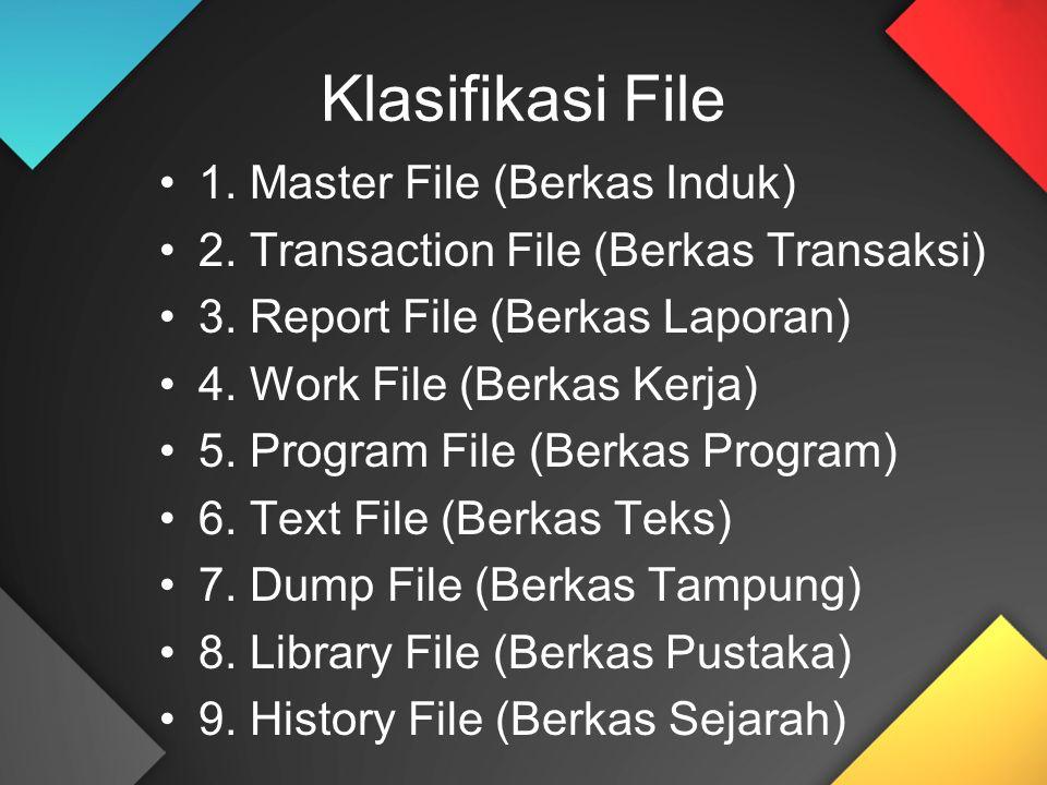 Klasifikasi File 1. Master File (Berkas Induk) 2. Transaction File (Berkas Transaksi) 3. Report File (Berkas Laporan) 4. Work File (Berkas Kerja) 5. P
