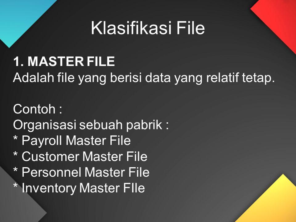 1. MASTER FILE Adalah file yang berisi data yang relatif tetap. Contoh : Organisasi sebuah pabrik : * Payroll Master File * Customer Master File * Per