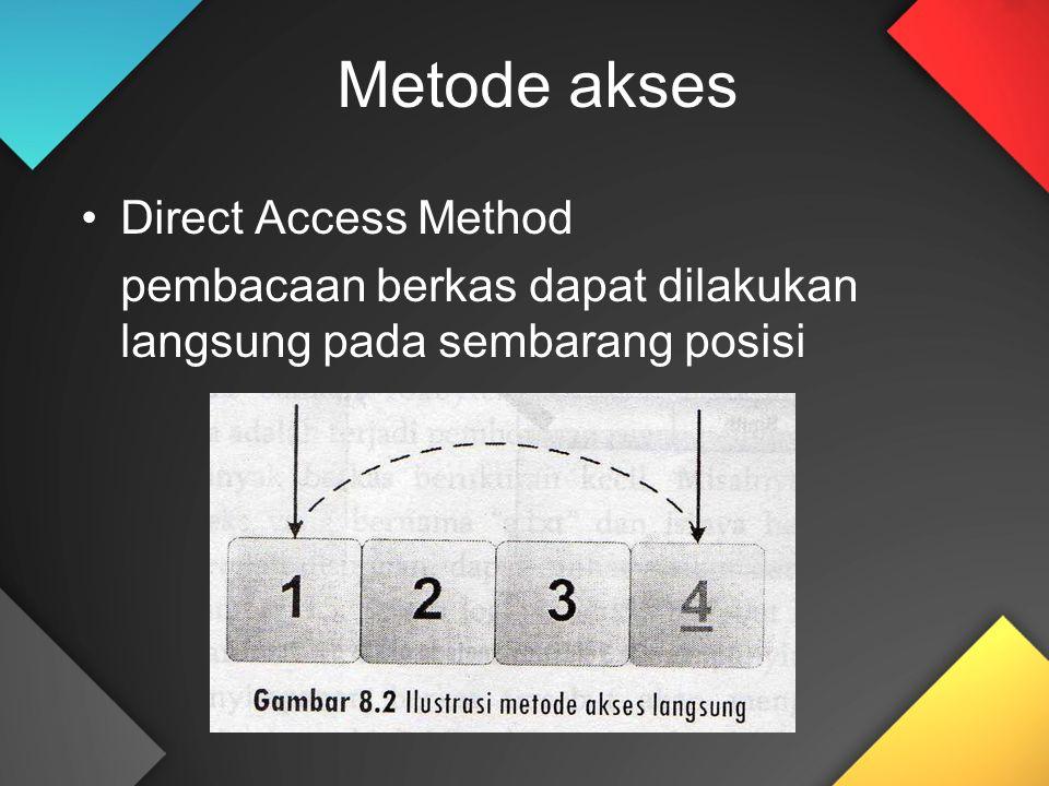 Metode akses Direct Access Method pembacaan berkas dapat dilakukan langsung pada sembarang posisi