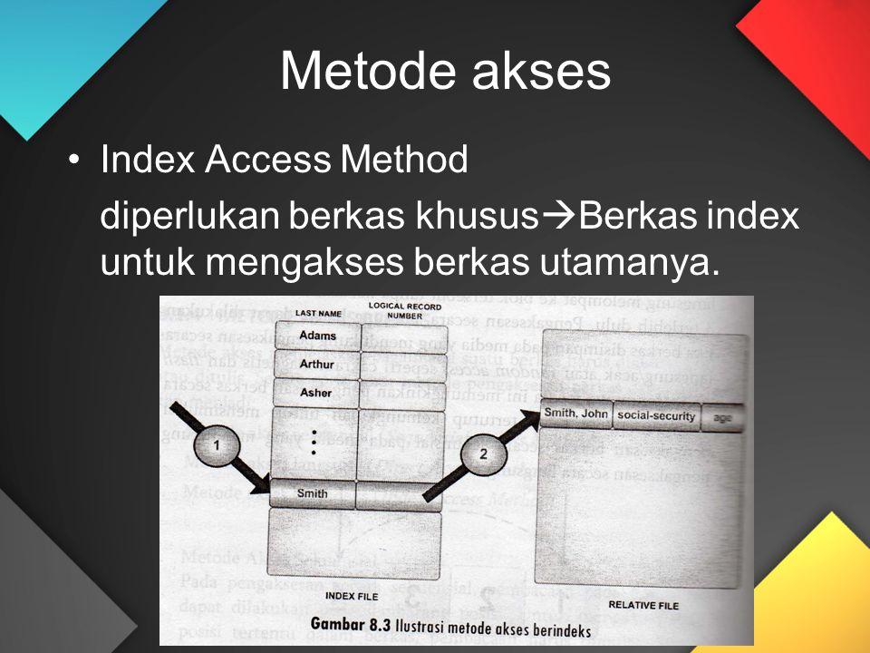 Metode akses Index Access Method diperlukan berkas khusus  Berkas index untuk mengakses berkas utamanya.