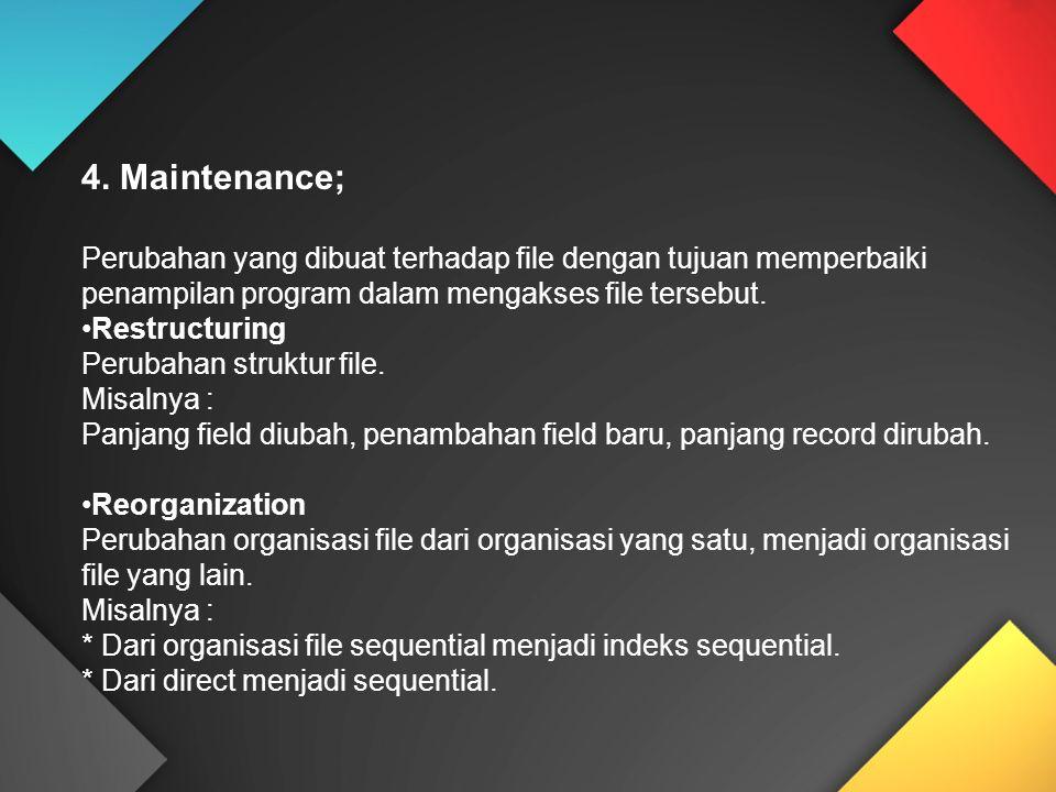 4. Maintenance; Perubahan yang dibuat terhadap file dengan tujuan memperbaiki penampilan program dalam mengakses file tersebut. Restructuring Perubaha