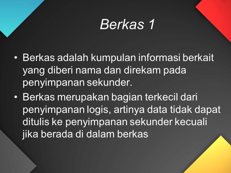 Berkas 1 Berkas adalah kumpulan informasi berkait yang diberi nama dan direkam pada penyimpanan sekunder. Berkas merupakan bagian terkecil dari penyim