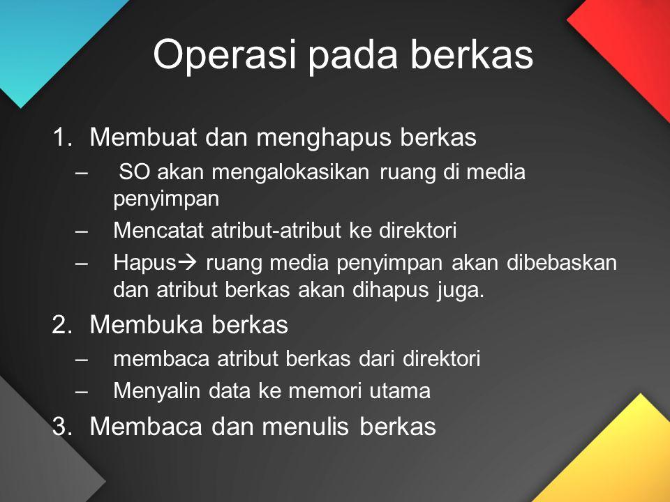 Operasi pada berkas 1.Membuat dan menghapus berkas –SO akan mengalokasikan ruang di media penyimpan –Mencatat atribut-atribut ke direktori –Hapus  ru