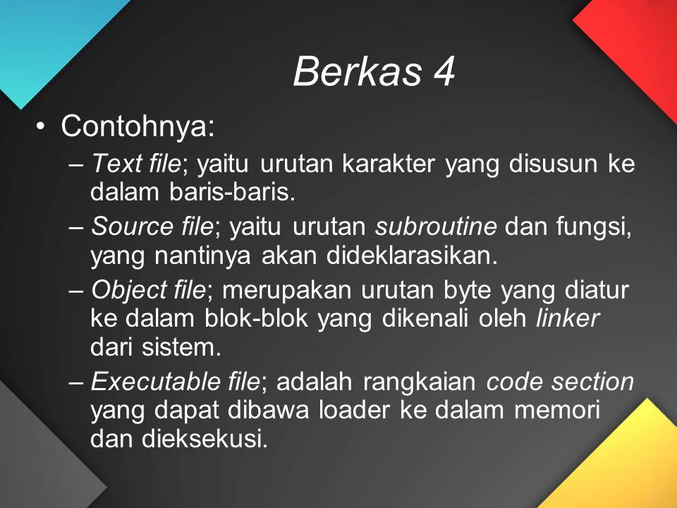 Berkas 4 Contohnya: –Text file; yaitu urutan karakter yang disusun ke dalam baris-baris. –Source file; yaitu urutan subroutine dan fungsi, yang nantin