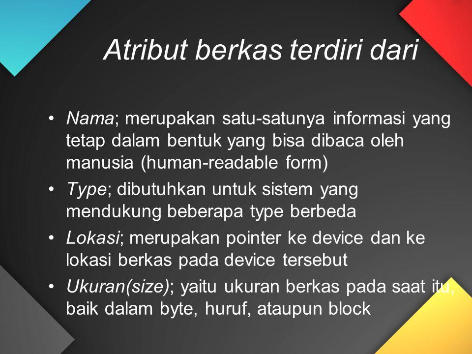 Atribut berkas terdiri dari Nama; merupakan satu-satunya informasi yang tetap dalam bentuk yang bisa dibaca oleh manusia (human-readable form) Type; d