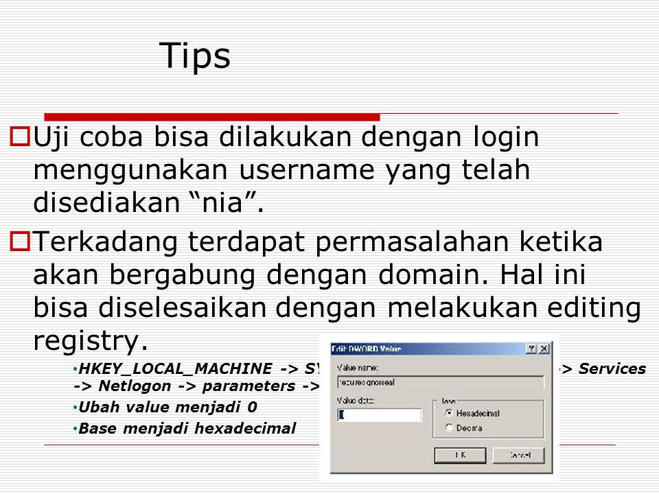 """Tips  Uji coba bisa dilakukan dengan login menggunakan username yang telah disediakan """"nia"""".  Terkadang terdapat permasalahan ketika akan bergabung"""