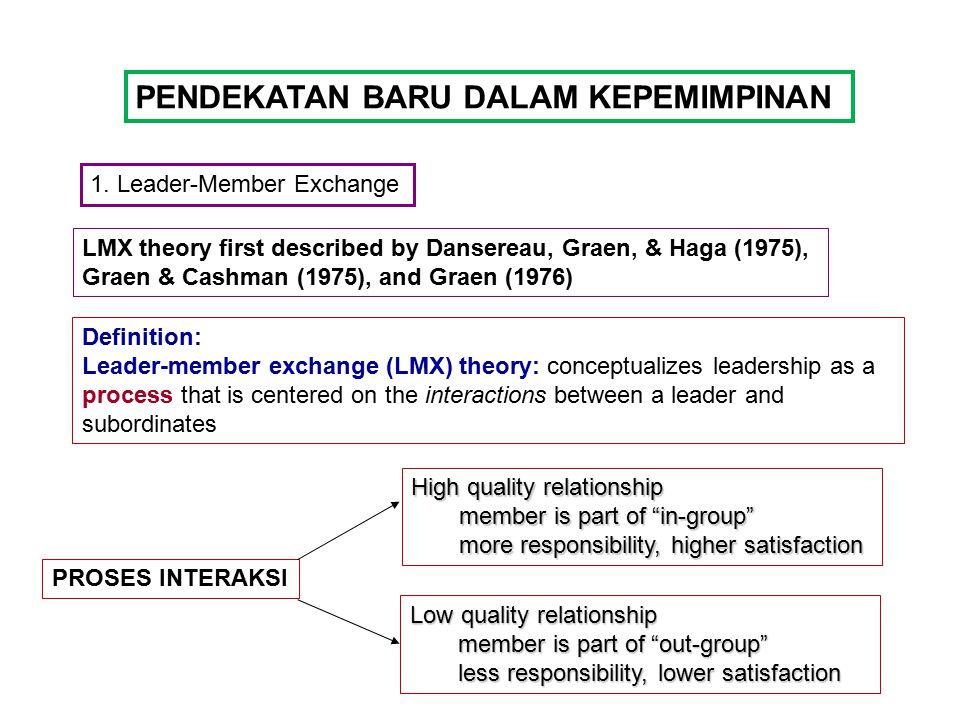 PENDEKATAN BARU DALAM KEPEMIMPINAN 1. Leader-Member Exchange LMX theory first described by Dansereau, Graen, & Haga (1975), Graen & Cashman (1975), an