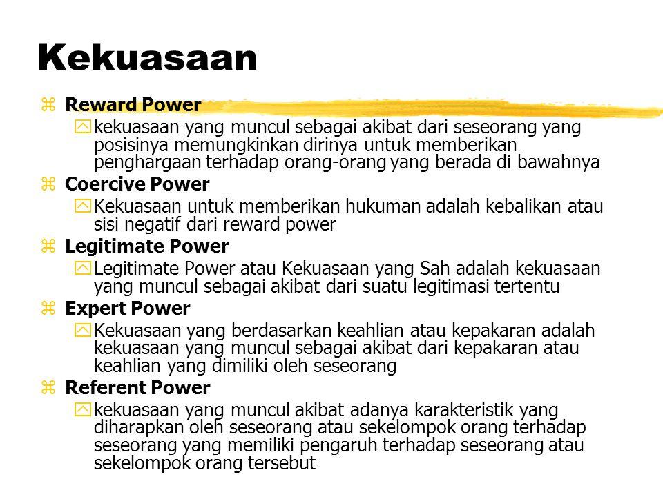 Alat mempengaruhi Kekuasaan Kekuasaan atau power berarti suatu kemampuan untuk mempengaruhi orang atau merubah orang atau situasi Kekuasaan dapat berk