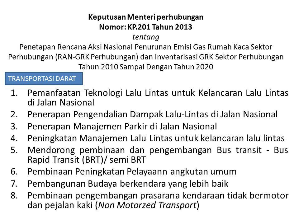 Keputusan Menteri perhubungan Nomor: KP.201 Tahun 2013 tentang Penetapan Rencana Aksi Nasional Penurunan Emisi Gas Rumah Kaca Sektor Perhubungan (RAN-