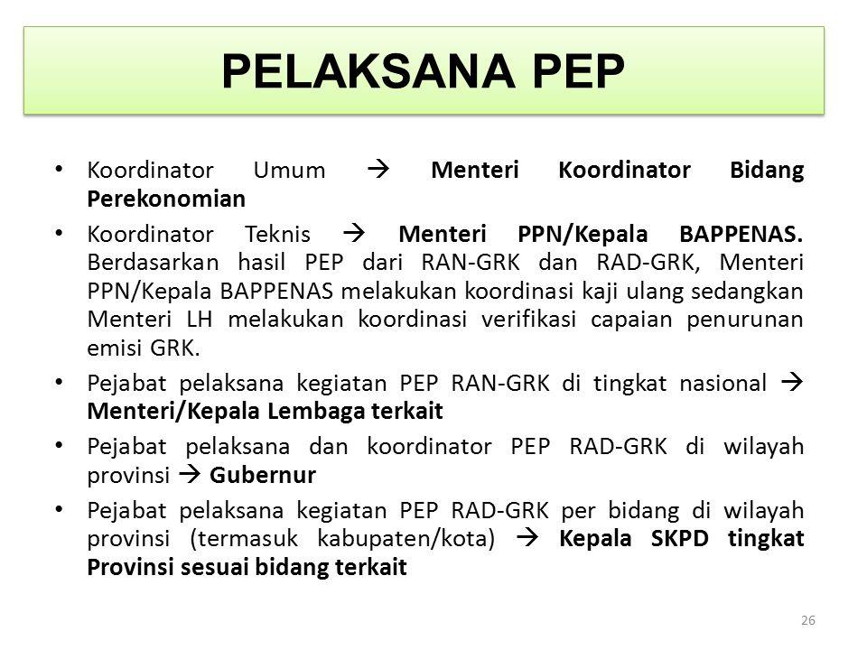 PELAKSANA PEP Koordinator Umum  Menteri Koordinator Bidang Perekonomian Koordinator Teknis  Menteri PPN/Kepala BAPPENAS. Berdasarkan hasil PEP dari