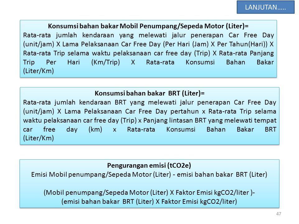 47 Konsumsi bahan bakar Mobil Penumpang/Sepeda Motor (Liter)= Rata-rata jumlah kendaraan yang melewati jalur penerapan Car Free Day (unit/jam) X Lama Pelaksanaan Car Free Day (Per Hari (Jam) X Per Tahun(Hari)) X Rata-rata Trip selama waktu pelaksanaan car free day (Trip) X Rata-rata Panjang Trip Per Hari (Km/Trip) X Rata-rata Konsumsi Bahan Bakar (Liter/Km) Konsumsi bahan bakar Mobil Penumpang/Sepeda Motor (Liter)= Rata-rata jumlah kendaraan yang melewati jalur penerapan Car Free Day (unit/jam) X Lama Pelaksanaan Car Free Day (Per Hari (Jam) X Per Tahun(Hari)) X Rata-rata Trip selama waktu pelaksanaan car free day (Trip) X Rata-rata Panjang Trip Per Hari (Km/Trip) X Rata-rata Konsumsi Bahan Bakar (Liter/Km) Konsumsi bahan bakar BRT (Liter)= Rata-rata jumlah kendaraan BRT yang melewati jalur penerapan Car Free Day (unit/jam) X Lama Pelaksanaan Car Free Day pertahun x Rata-rata Trip selama waktu pelaksanaan car free day (Trip) x Panjang lintasan BRT yang melewati tempat car free day (km) x Rata-rata Konsumsi Bahan Bakar BRT (Liter/Km) Konsumsi bahan bakar BRT (Liter)= Rata-rata jumlah kendaraan BRT yang melewati jalur penerapan Car Free Day (unit/jam) X Lama Pelaksanaan Car Free Day pertahun x Rata-rata Trip selama waktu pelaksanaan car free day (Trip) x Panjang lintasan BRT yang melewati tempat car free day (km) x Rata-rata Konsumsi Bahan Bakar BRT (Liter/Km) Pengurangan emisi (tCO2e) Emisi Mobil penumpang/Sepeda Motor (Liter) - emisi bahan bakar BRT (Liter) (Mobil penumpang/Sepeda Motor (Liter) X Faktor Emisi kgCO2/liter )- (emisi bahan bakar BRT (Liter) X Faktor Emisi kgCO2/liter) Pengurangan emisi (tCO2e) Emisi Mobil penumpang/Sepeda Motor (Liter) - emisi bahan bakar BRT (Liter) (Mobil penumpang/Sepeda Motor (Liter) X Faktor Emisi kgCO2/liter )- (emisi bahan bakar BRT (Liter) X Faktor Emisi kgCO2/liter)