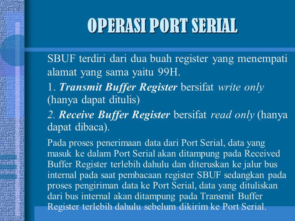SBUF terdiri dari dua buah register yang menempati alamat yang sama yaitu 99H. 1. Transmit Buffer Register bersifat write only (hanya dapat ditulis) 2