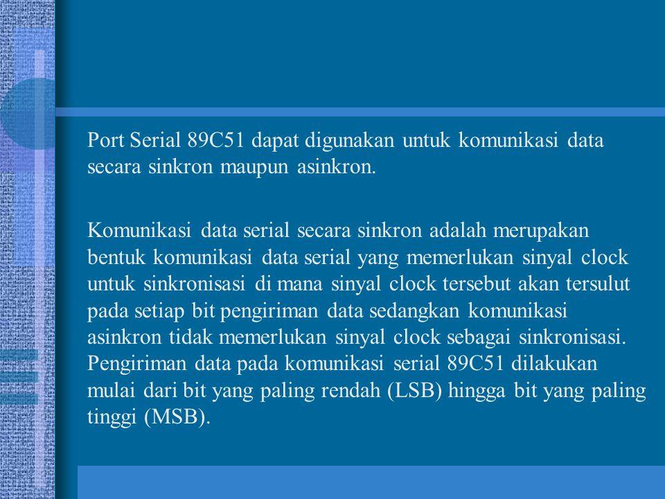 Port Serial 89C51 dapat digunakan untuk komunikasi data secara sinkron maupun asinkron. Komunikasi data serial secara sinkron adalah merupakan bentuk