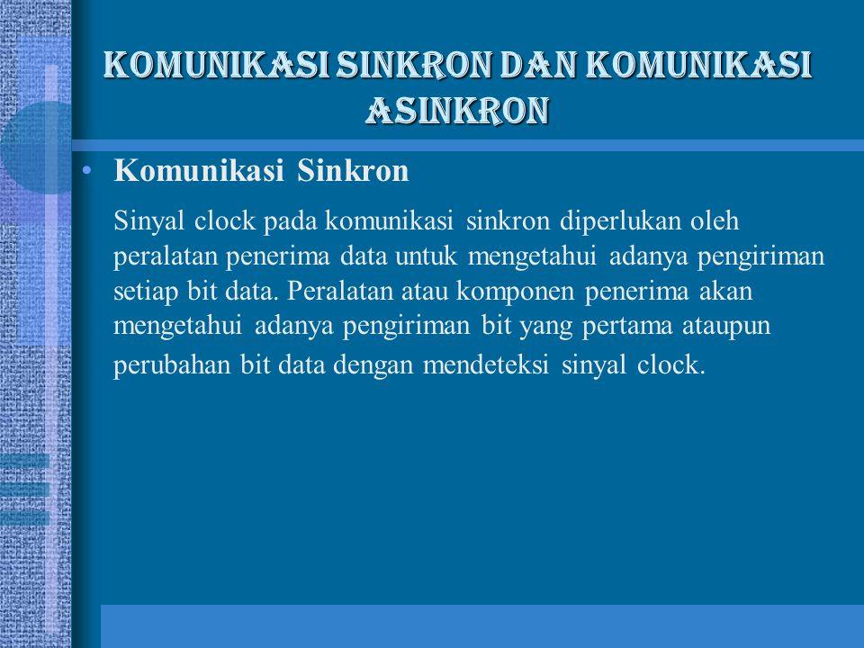 Komunikasi Sinkron Sinyal clock pada komunikasi sinkron diperlukan oleh peralatan penerima data untuk mengetahui adanya pengiriman setiap bit data. Pe