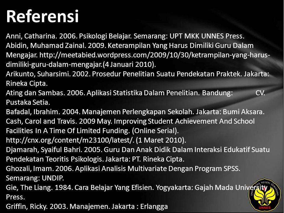 Referensi Anni, Catharina. 2006. Psikologi Belajar. Semarang: UPT MKK UNNES Press. Abidin, Muhamad Zainal. 2009. Keterampilan Yang Harus Dimiliki Guru