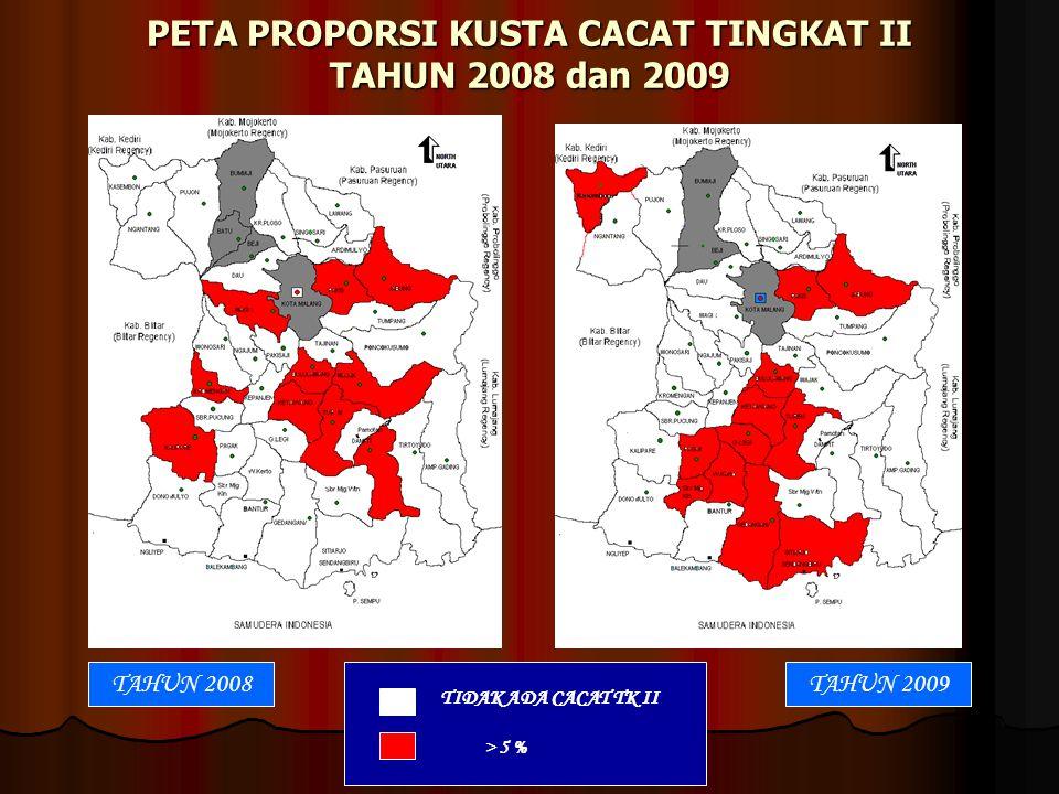 PETA PROPORSI KUSTA CACAT TINGKAT II TAHUN 2008 dan 2009 TIDAK ADA CACAT TK II > 5 % TAHUN 2007TAHUN 2009TAHUN 2008