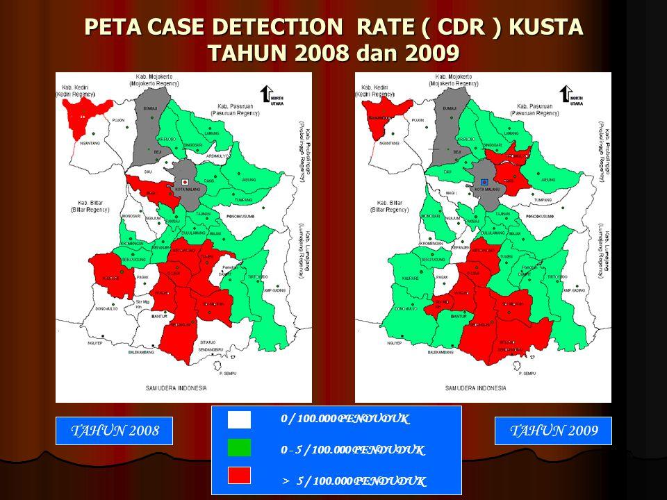 PETA CASE DETECTION RATE ( CDR ) KUSTA TAHUN 2008 dan 2009 0 / 100.000 PENDUDUK 0 - 5 / 100.000 PENDUDUK > 5 / 100.000 PENDUDUK TAHUN 2007TAHUN 2009TA