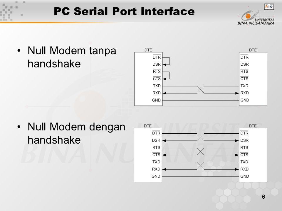 6 PC Serial Port Interface Null Modem tanpa handshake Null Modem dengan handshake