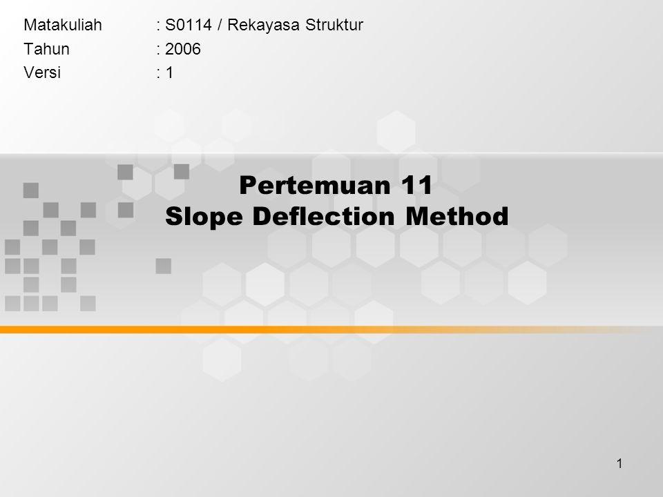 1 Pertemuan 11 Slope Deflection Method Matakuliah: S0114 / Rekayasa Struktur Tahun: 2006 Versi: 1