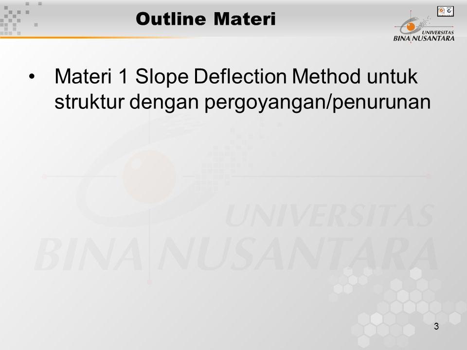 3 Outline Materi Materi 1 Slope Deflection Method untuk struktur dengan pergoyangan/penurunan