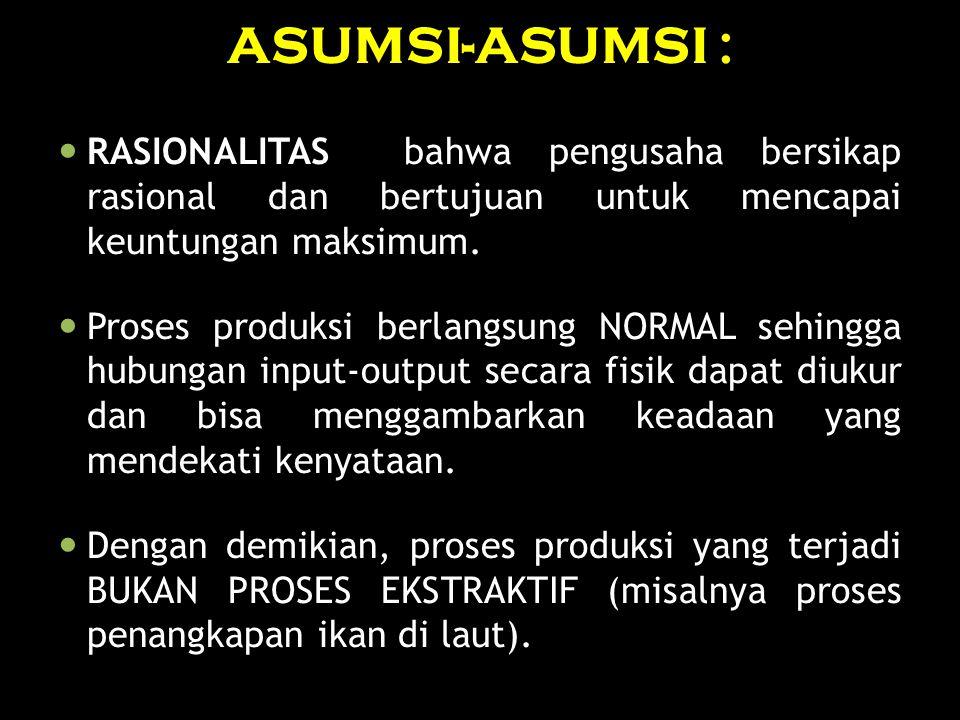 ASUMSI-ASUMSI : RASIONALITAS bahwa pengusaha bersikap rasional dan bertujuan untuk mencapai keuntungan maksimum. Proses produksi berlangsung NORMAL se