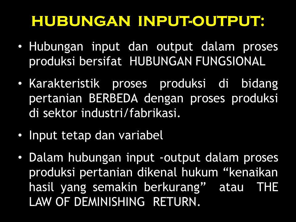HUBUNGAN INPUT-OUTPUT: Hubungan input dan output dalam proses produksi bersifat HUBUNGAN FUNGSIONAL Karakteristik proses produksi di bidang pertanian