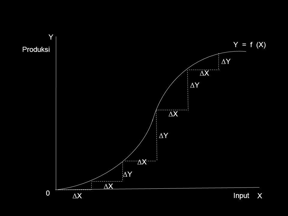 ∆Y ∆X Y X Y = f (X) ∆X ∆Y ∆X 0 Produksi Input ∆X ∆Y