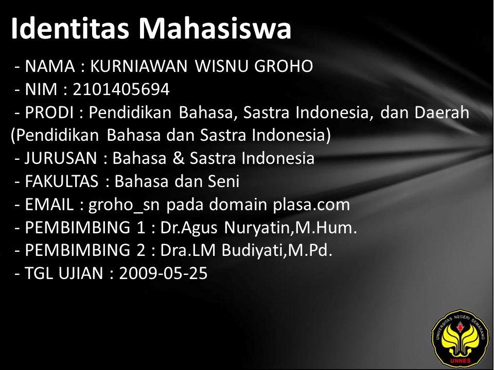 Identitas Mahasiswa - NAMA : KURNIAWAN WISNU GROHO - NIM : 2101405694 - PRODI : Pendidikan Bahasa, Sastra Indonesia, dan Daerah (Pendidikan Bahasa dan Sastra Indonesia) - JURUSAN : Bahasa & Sastra Indonesia - FAKULTAS : Bahasa dan Seni - EMAIL : groho_sn pada domain plasa.com - PEMBIMBING 1 : Dr.Agus Nuryatin,M.Hum.