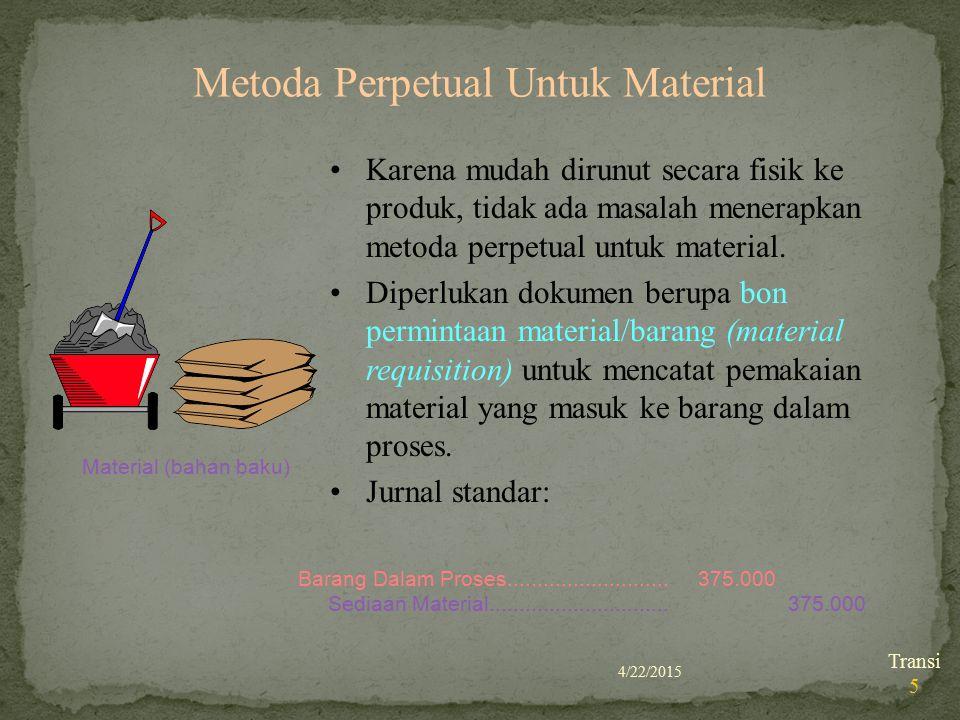4/22/2015 Transi 5 Metoda Perpetual Untuk Material Material (bahan baku) Karena mudah dirunut secara fisik ke produk, tidak ada masalah menerapkan met