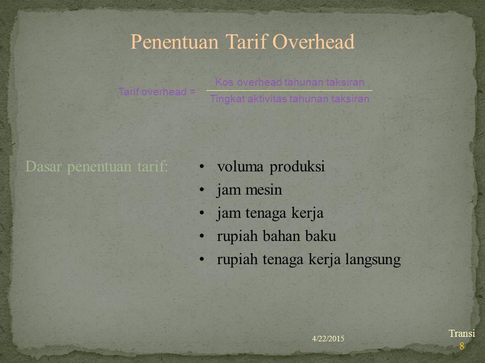 4/22/2015 Transi 8 Penentuan Tarif Overhead voluma produksi jam mesin jam tenaga kerja rupiah bahan baku rupiah tenaga kerja langsung Tarif overhead =