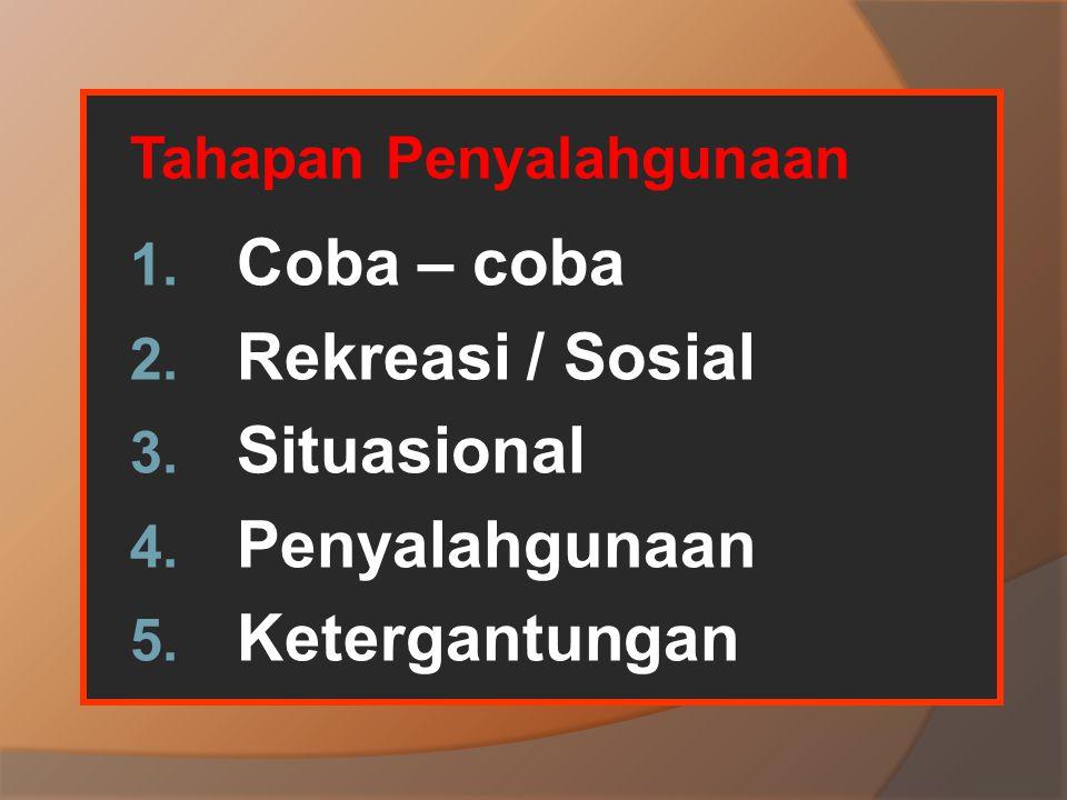 Tahapan Penyalahgunaan 1. Coba – coba 2. Rekreasi / Sosial 3. Situasional 4. Penyalahgunaan 5. Ketergantungan