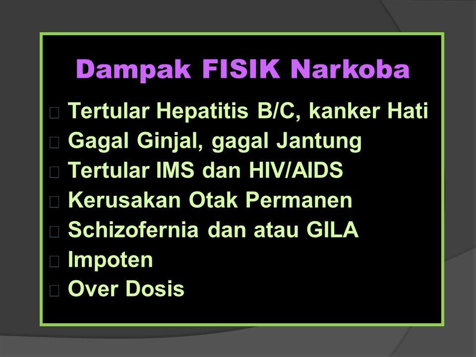 Dampak FISIK Narkoba Tertular Hepatitis B/C, kanker Hati Gagal Ginjal, gagal Jantung Tertular IMS dan HIV/AIDS Kerusakan Otak Permanen Schizofernia da