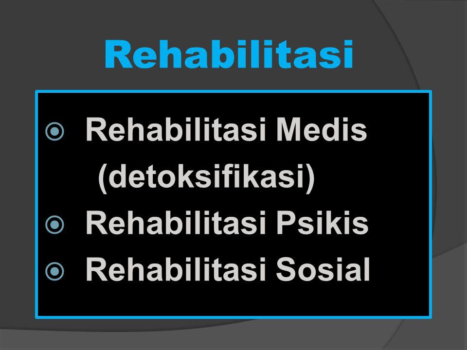 Rehabilitasi  Rehabilitasi Medis (detoksifikasi)  Rehabilitasi Psikis  Rehabilitasi Sosial